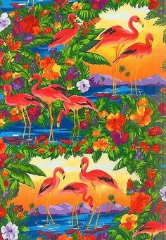 Flamingo Paradise - Tropical Retreat at Sunset ,  F/Q or YRD , quilting fabric