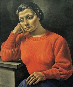 Antonio Berni (Argentina 1905-1981), Figura o Retrato de sweater rojo o La mujer del sweater rojo (Woman in the Red Sweater), oil/canvas, 1935. Collection Fundación Costantini, Museo de Arte Latinoamericano de Buenos Aires, Argentina.