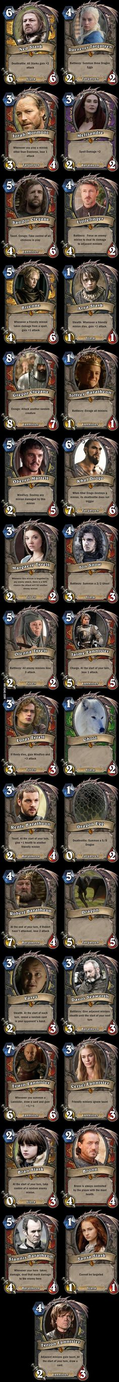 Hearthstone x A Song of Ice and Fire -- if only the GoT characters had cards in Hearthstone!