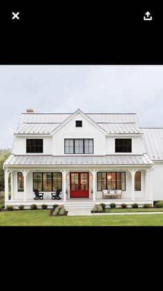 SOMEDAY I would love this style home as ADA with huge porch and rocking chairs - black framed windows, simple foundation plantings, red door nice contrast Dream House Plans, My Dream Home, Style At Home, Modern Farmhouse Exterior, Farmhouse Windows, Farmhouse Ideas, Farmhouse Style Homes, Simple Farmhouse Plans, Simple House Plans