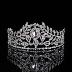 Vintage Wedding Pageant Prom Crystal Tiara Leaves Rhinestone Bridal Hair Crown #Tiara