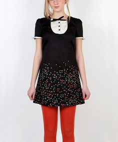 Take a look at this Black & White Geometric Button Yoke Dress by Titis Clothing on #zulily today!