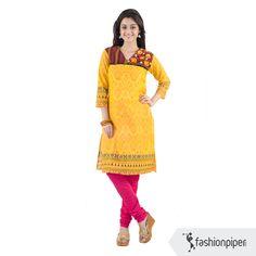 #Vibrant #Yellow and #Pink #Kurti  Order yours now: http://www.fashionpiper.com/women/indian-wear/kurti/royal-bengal-kurta-1526.html