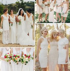 I love how all the bridesmaids dresses are different, it gives ...