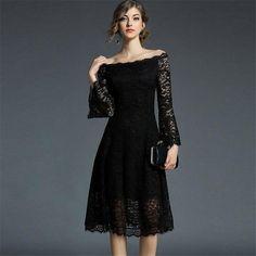 Sexy Slash Collar Elegant 3D Crochet Flower Lace Dress with Flare Slee – Green 7 Seven