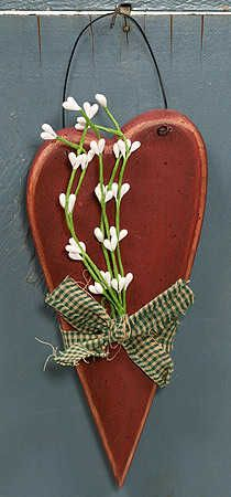 Primitive Valentine Crafts | Primitive Wood Red Heart with Pip Berries and Homespun - Valentine's ...
