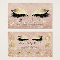 Makeup Rose Golden Lashes Extension Loyalty Card 9 - rose gold style stylish diy idea custom