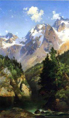 A Rocky Mountain Peak, Idaho Territory, 1882  Moran, Thomas  Painting Reproductions