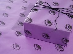 1 Roll of Spooky Lines on Purple Gothic Wrapping Paper. These hand drawn black lines will add visual tension to any gift. Rebel against the ordinary and make your gift giving rage with handcrafted wrapping paper by Moonie Garcia. Birthday Gift Wrapping, Christmas Gift Wrapping, Birthday Gifts, Handmade Christmas Gifts, Handmade Gifts, Spooky Eyes, Small Gift Boxes, Christmas Music, Gift Tags