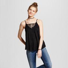 Women's Lace up Lace Tank Top - Born Famous (Juniors') Black XL