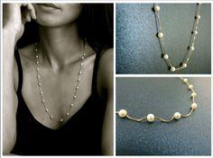 """Perlen Halskette """"Gala Gold"""" Dieses elegante Kette ist aus vergoldetem 925 Silber und kleineren runden Perlen gefertigt."""