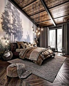 How do you like this bedroom design? A room should never allow the eye to settle in one place. It should smile at you and create fantasy home decor decoration salon decoration interieur maison Teenage Room Decor, Dream Bedroom, Home Decor Bedroom, Bedroom Ideas, Cozy Bedroom, Bedroom Furniture, Bedroom Designs, Bedroom Rustic, Bedroom Inspiration