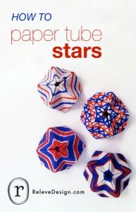 Instructions and photo diagrams for paper tube stars.  I would used rolled paper.  Requires glue.