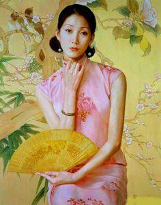 陈逸鸣油画作品:仕女系列-2 - 梅兰  2007年作 作品尺寸:122*96.5cm