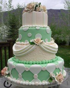 #Green and White cake #