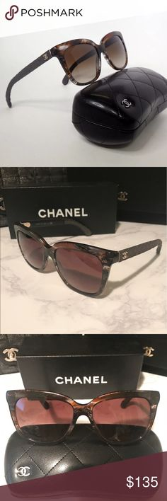"Chanel Summer Multi Brown Gradient Sunglasses Kick off the summer looking stylish in these brown multicolor Chanel sunglasses. Featuring brown multicolor frames with a brown gradient lens and denim like quilting on the arms. They are in great condition with very little wear only visible under very close inspection. No scratches or flaws. Snap up this great deal for a pair of ""like new"" sunglasses. Chanel lambskin case included. Guaranteed authentic. CHANEL Accessories Sunglasses"