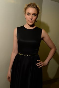 Greta Gerwig in Dior.  [Photo by Steve Eichner]