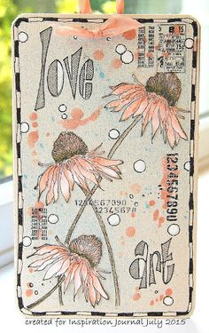 July DT Project for IE...Flower Garden stamped on to Sticky Back Canvas