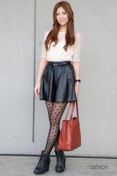 Polka Dot Top, Leather Skirt, Polka Dot Tights