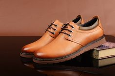 FGN Brand British Style Men's Genuine Leather Lace Up Oxfords Shoes A496150T - Yellow