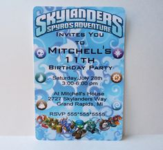 12  Skylanders Party Invitations by WildvineUnlimited on Etsy, $10.00