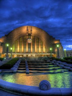 Superb night photo of Cincinnati Union Station. tracktwentynine: Night at the Museum Center Cincinnati Union Station (home to the Cincinnati Museum Center) at dusk. An HDR shot. Art Deco, Art Nouveau, Cincinnati Museum, Cincinnati Reds, Cincinnati Downtown, Cleveland, The Places Youll Go, Places To See, The Buckeye State