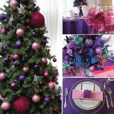 Pink & purple sparkle holiday decor