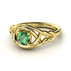 Round Emerald 14K Rose Gold Ring - lay_down