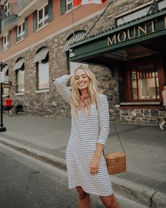 This Pencil Stripe Dress is my new fave TRAVELING COMPANION: low maintenance, loves to get dressed up for a night out on the town, and always has room for dessert. Seriously, you will love it. @albionfit