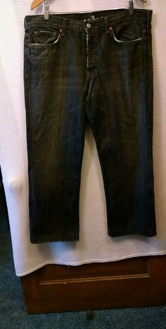 7 For All Mankind Slouchy Men's Jeans Button Fly 100% Cotton USA Sz 36 #7ForAllMankind #ClassicStraightLeg