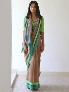 Brown Lime Green Cerulean Yale Blue Anjeer Chanderi & Zari #Saree By Raw Mango. Available Online At Jaypore.com.