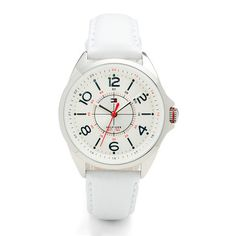 my doctor watch            • Sporty women's quartz watch with a round metal case• White dial with red and blue accents for a signature Tommy Hilfiger look• Logo flag in the centre• White leather strap• Water resistance: 3 ATM (30 metres)