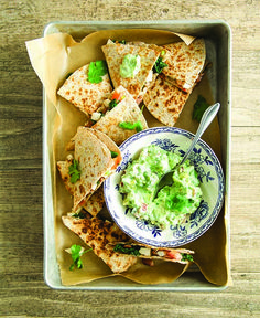 Cheesy Chicken & Kale Quesadillas with Creamy Guacamole - Clean Eating - Clean Eating