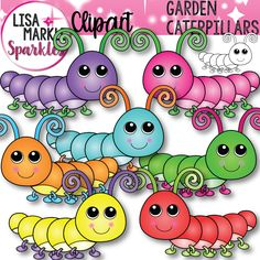 Who says caterpillars can't be vibrant and cute before they become butterflies?! Brighten up all your fun spring and garden teaching activities with these happy little caterpillars! Eight graphics including one black line version and seven color variations! All graphics are 300 DPI PNG files with transparent backgrounds. Enjoy!!