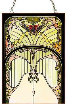 Art Nouveau (Jugendstil) style Stained Glass panel