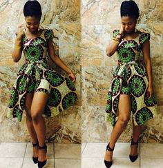 African print- assymetric back dress