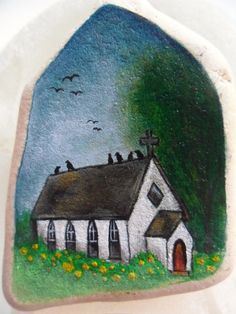 Blackbirds on a church roof  Miniature painting by Alienstoatdesigns, £25.00