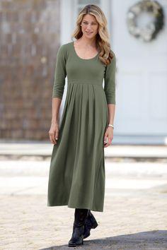 3/4 Sleeve Long Pleated Knit Dress: Classic Women's Clothing from #ChadwicksofBoston $49.99