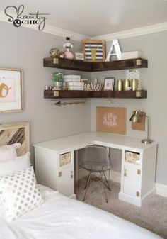 ideas for small rooms women Decorative and Small Bedroom Design Ideas for This Year Part 20 Teen Room Decor, Room Ideas Bedroom, Small Room Bedroom, Cool Room Decor, Office In Bedroom Ideas, Room Decor Teenage Girl, Desk In Bedroom, Corner Shelves Bedroom, Bedroom Shelving