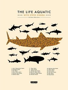 Cult Classic Movies / The Life Aquatic - Sharks / Lure Design Poster Store