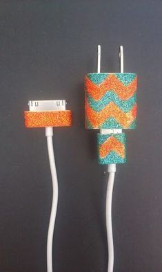 #DIY Make customized phone charger so it doesn't get lost or nabbed again - I need to do this! // chevron glitter charger || noelle o designs #phonecharger