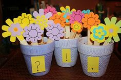 Literacy Center -  Punctuation pots...Write sentences on the sticks and students have to place them in the correct pot.