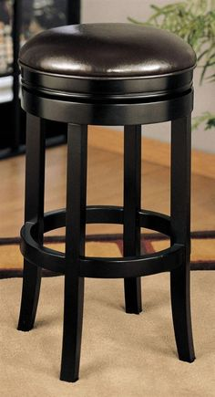Leather Backless Swivel Barstool With Espresso Base Home Bar Furniture Dining