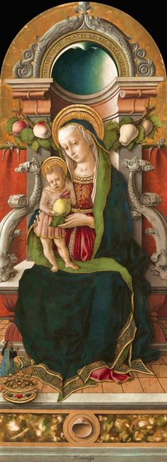Carlo Crivelli Madonna and Child Enthroned with a Donor, , National Gallery of Art, Washington. Read more about the symbolism and interpretation of Madonna and Child Enthroned with a Donor by Carlo Crivelli. Renaissance Kunst, Renaissance Paintings, Italian Renaissance, Madonna Und Kind, Madonna And Child, Blessed Mother Mary, Blessed Virgin Mary, National Gallery Of Art, Religious Paintings