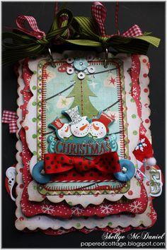Snowman Fun MERRY CHRISTMAS Mini Scalloped par WhimsybyShellye