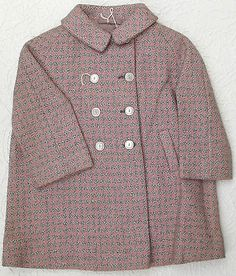 Vintage girls tweed coat 1930s 1950s toddler WOOL houndstooth check pink UNUSED