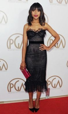 Kerry Washington Czarny bez ramiączek Sukienka koktajlowa Suknie Homecoming Producers Guild Awards 2013 Formal Dress
