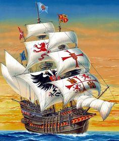 La Pintura y la Guerra. Sursumkorda in memoriam Spanish Galleon, Old Sailing Ships, Ship Paintings, Medieval World, Conquistador, Naval History, Knights Templar, Ship Art, Tall Ships
