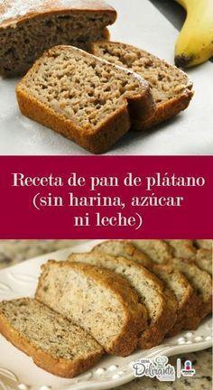 Receta pan de plátano sin harina azúcar leche