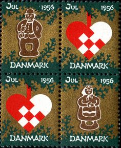 デンマーク・クリスマス・シール1956年 クリスマス・デコレーション Christmas Seal of Denmark